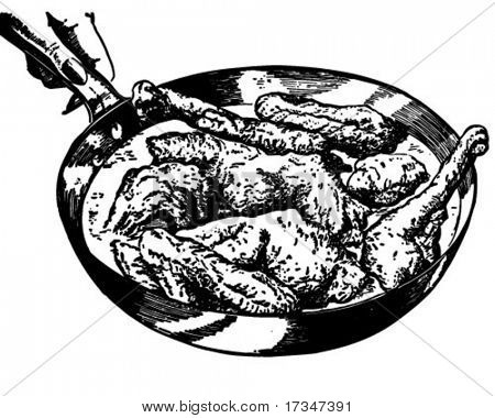 Pan Of Fried Chicken - Retro Clipart Illustration