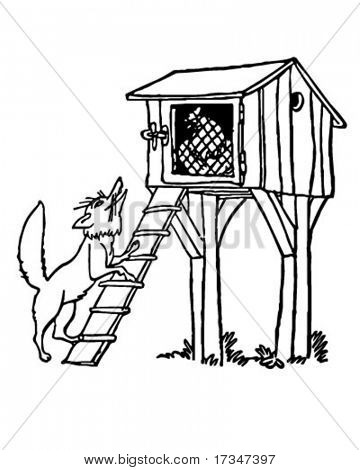 Fox At The Chicken Coop - Retro Clipart Illustration