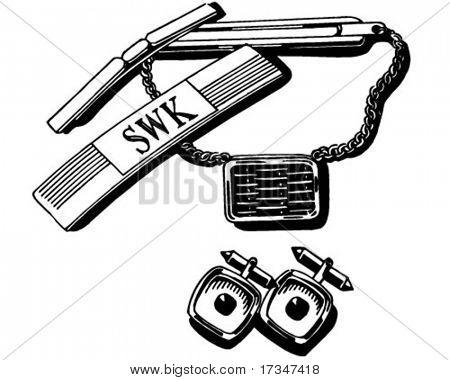 Mens Jewelry Set - Retro Clipart Illustration