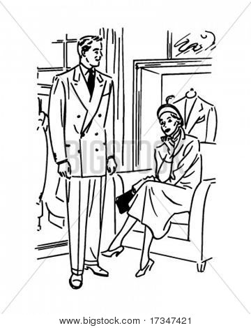 Man Modeling Suit - Retro Clipart Illustration