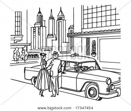 New York Taxi Service - Retro Clipart Illustration