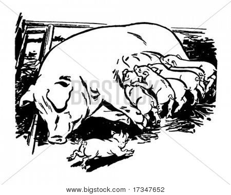 Sow With Piglets - Retro Clipart Illustration