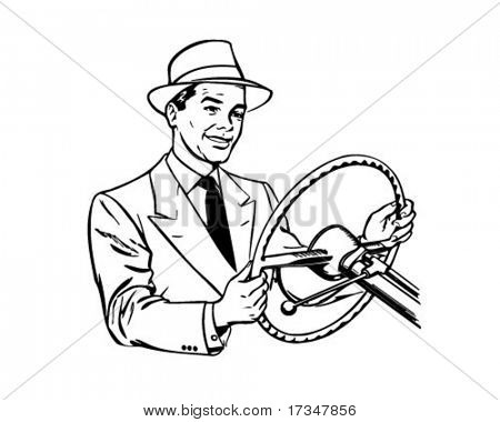 Man Driving Car - Retro Clipart Illustration