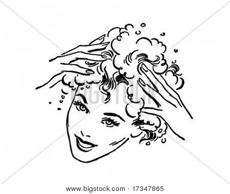 Woman Washing Hair - Retro Clipart Illustration