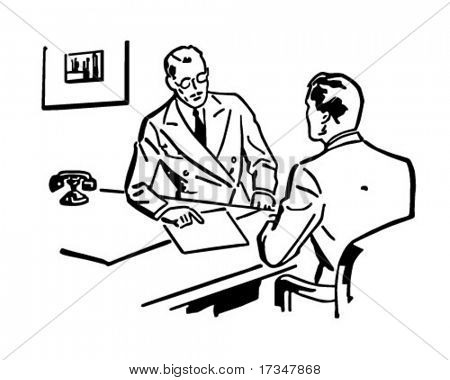 Business Discussion - Retro Clipart Illustration