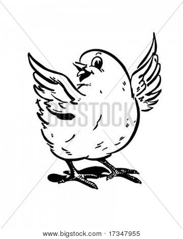 Cute Chick - Retro Clipart Illustration