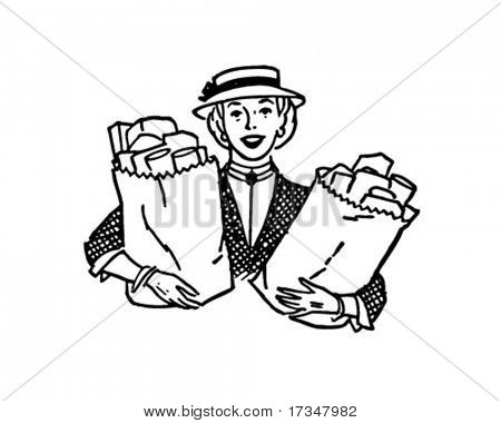 Woman With Groceries - Retro Clipart Illustration