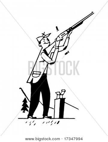 Skeet Shooting - Retro Clipart Illustration