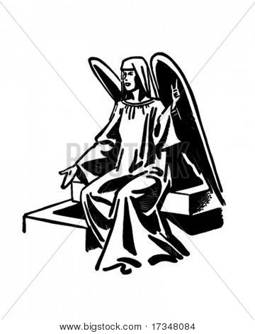 Seated Angel - Retro Clipart Illustration