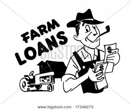 Farm Loans - Retro Clipart Illustration