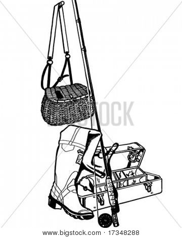 Fishing Gear - Retro Clipart Illustration