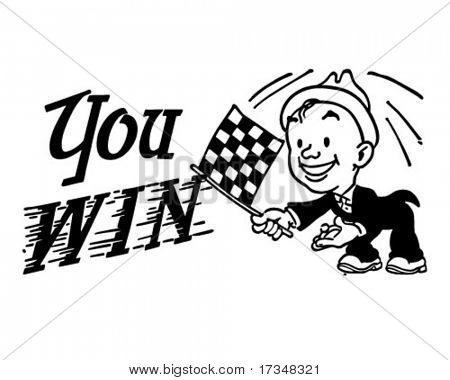Checkered Flag You Win - Retro Clipart Illustration