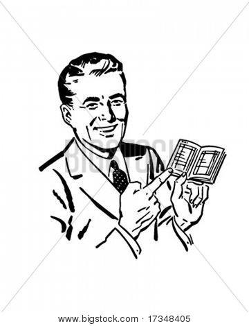 Man With Deposit Book - Retro Clipart Illustration