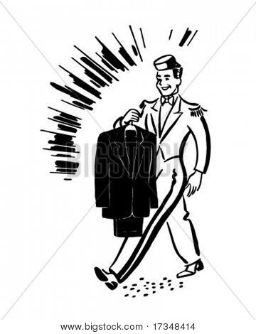 Bellhop With Clean Suit - Retro Clipart Illustration