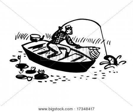 Hombre en barco pescando - ilustración imágenes prediseñadas Retro