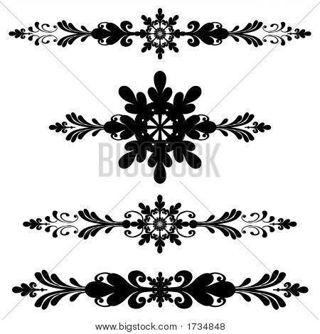Ornamental Bar Line Divider Rule Scroll Art