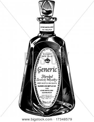Scotch Whiskey Bottle - Retro Clipart Illustration