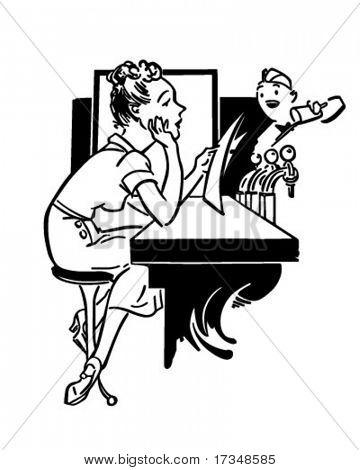 Lady In Soda Shop - Retro Clipart Illustration