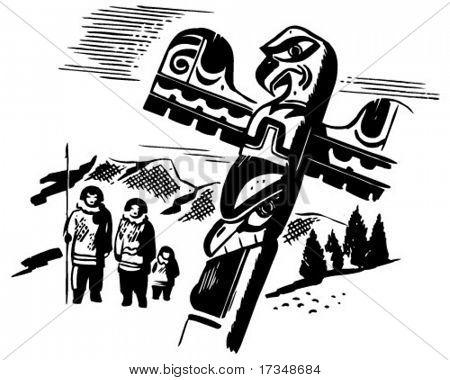 Totem Pole - Retro Clipart Illustration