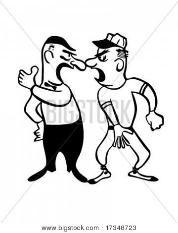 Discutiendo con el árbitro - ilustración imágenes prediseñadas Retro