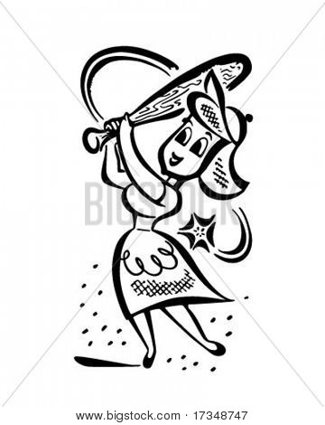 Homerun Housewife - Retro Clipart Illustration