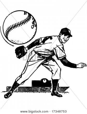 Lanzador de béisbol - ilustración imágenes prediseñadas Retro