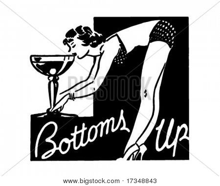 Bottoms Up - anuncio Retro arte Banner