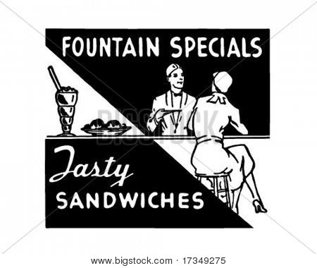 Fountains Specials - Retro Ad Art Banner