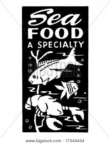 Seafood A Specialty - Retro Ad Art Banner