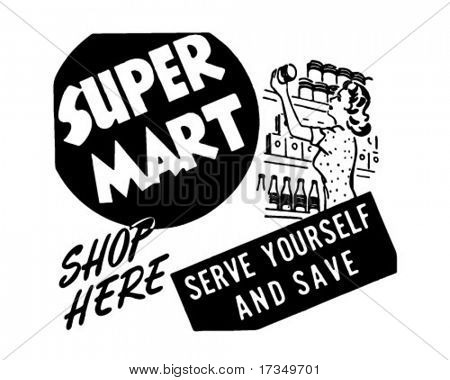 Super Mart - Retro Ad Art Banner