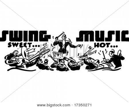 Swing música - anuncio Retro arte Banner