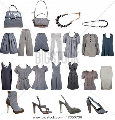 Sammlung von grau Kleidung und Accessoires
