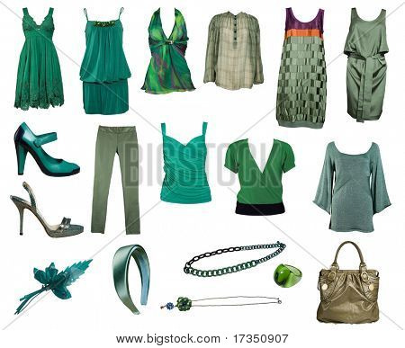collection of green clothes and accessories