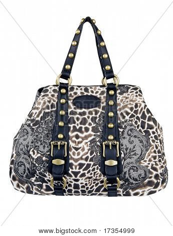 woman fashion leopard spotty bag