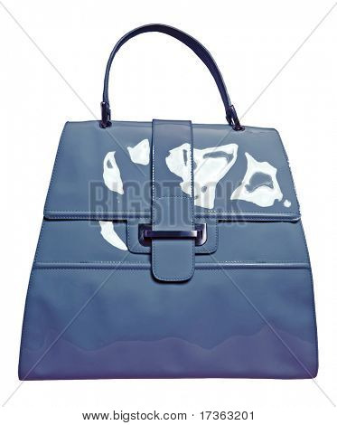 grey patent handbag