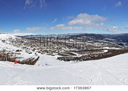 Panoramic View Of Ski Route In Bright Winter Day
