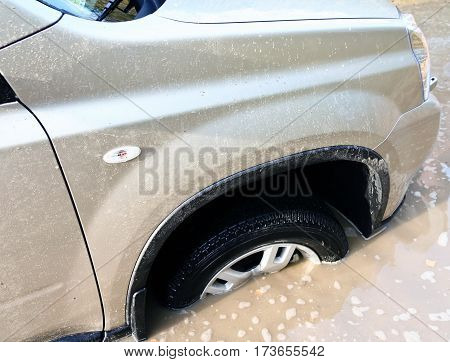 beige car got