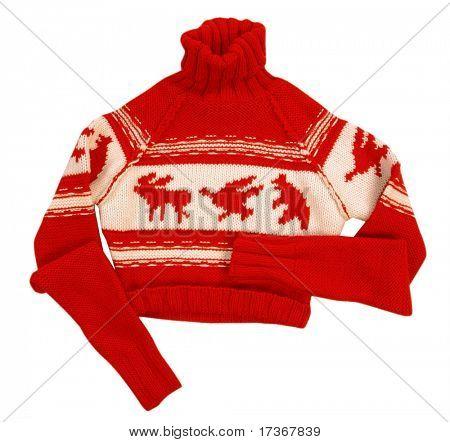 chaqueta suéter de lana roja