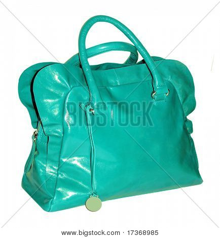 green patent bag with ruff