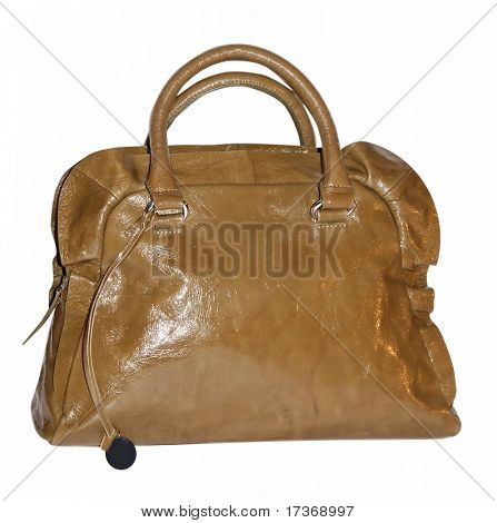 brown patent bag with ruff