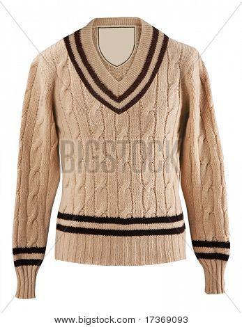 Male yellow beige knitted woolen sweater, warm winter jacket cardigan sweater