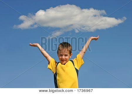 Boy Holding Up A Cloud