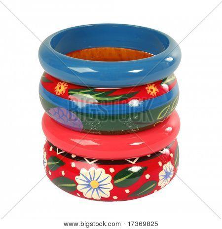 pulsera de madera de flores de color