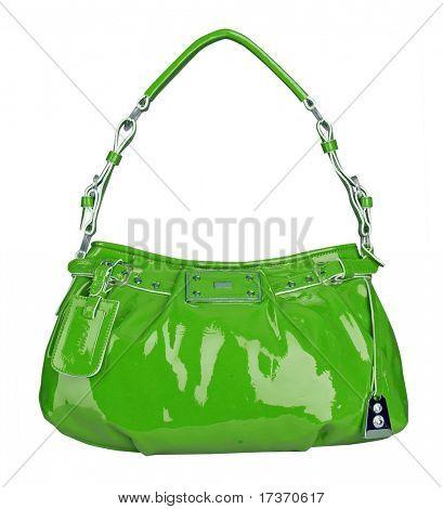 green patent bag
