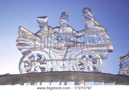 YEKATERINBURG - JANUARY 15: Competition ice sculptures, works of the best sculptors of the Ural ranked prizes January 15, 2010 in Yekaterinburg, Russia