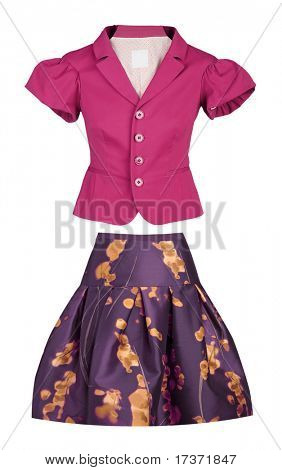 pink blouse and violet skirt