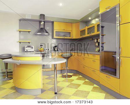 interior de cocina amarillo