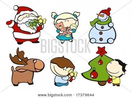 set of images of funny kids on a white background #3, christmas theme