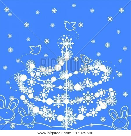 cute winter background with christmas tree, snowflakes, birds and rabbits