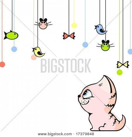 Cartão bonito com um gatinho rosa